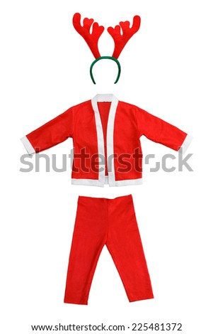 Santa costume and antler of deer isolated on a white background