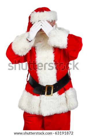 santa covering his face with hands - stock photo