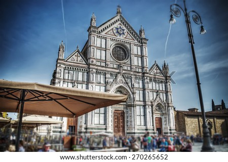 Santa Croce cathedral front view in tilt shift effect. Florence, Italy - stock photo