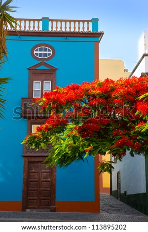 Santa Cruz de La Palma colonial street house facades in canary Islands