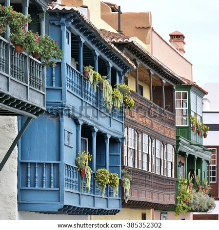 Santa Cruz de la Palma - wooden balconies (La Palma, Canary Islands) - detailed view - stock photo