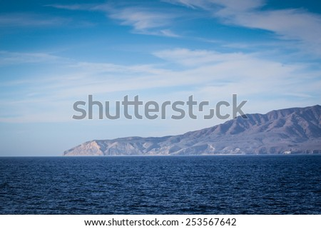 Santa Cruz Island of the cost from Ventura California  - stock photo