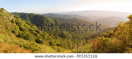 Santa Cruz Mountains, view from Castle Rock hiking trail, Northern California. - stock photo