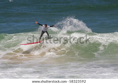 SANTA CRUZ, PORTUGAL - AUGUST 2: Portuguese Longboard Championship, Diogo Goncalves, August  2, 2010 in Santa Cruz, Portugal