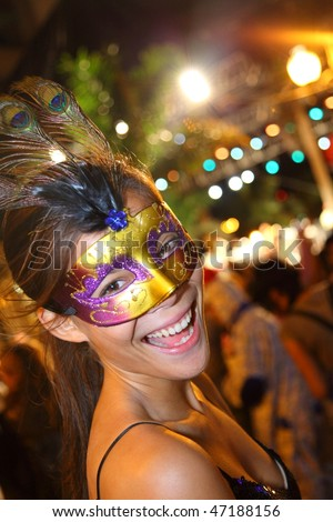 SANTA CRUZ, TENERIFE, SPAIN - FEBRUARY 16.  Santa Cruz de Tenerife Carnival  2010:  Woman at the party. at night. - stock photo