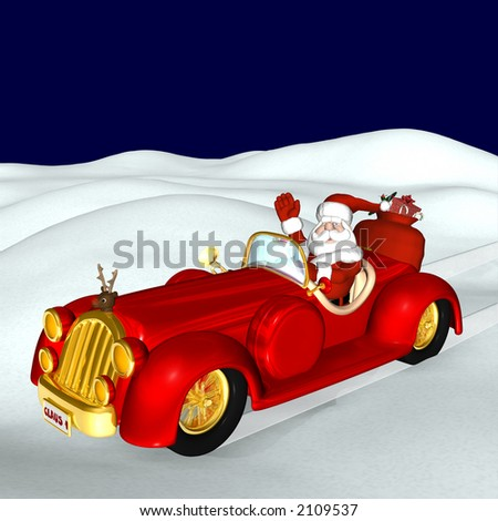 Santa delivering his bag of gifts in elegance in his stylish convertible with a red nosed reindeer hood ornament.
