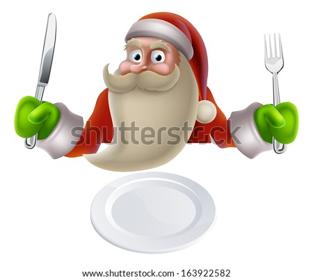 Santa eating Christmas dinner, cartoon Santa sat down with a knife and fork ready for dinner to be put on his plate - stock photo