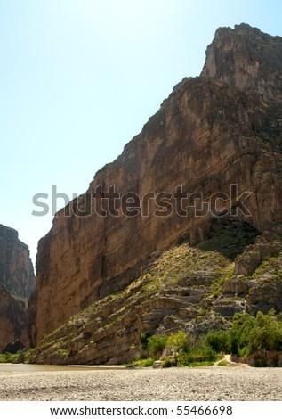 Santa Elena Canyon cliffs and Rio Grande River - stock photo