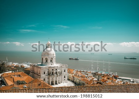 Santa Engracia Church, or the National Pantheon, in Lisbon, toned image - stock photo