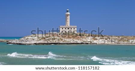 Santa Eufemia lighthouse in Vieste (Gargano,Italy) - stock photo