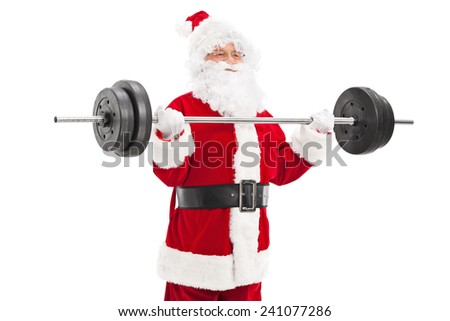 Santa exercising with a heavy barbell isolated on white background - stock photo