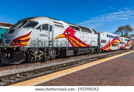 Santa Fe, New Mexico, USA - April 07, 2014: Locomotive decorated with the image of the road runner in Santa Fe Rail Yard, New Mexico - stock photo