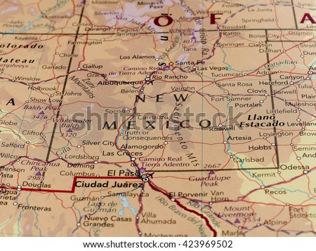 SANTA FE, NEW MEXICO USA - CIRCA MAY 2016: Map of the state of New Mexico with selective focus on state name