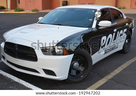 SANTA FE NM AVRIL 23: Roswell Police Department car. On april 23 2014 in santa Fe New Mexico USA. Roswell is known for having its name attached to what is now called the 1947 Roswell UFO incident - stock photo