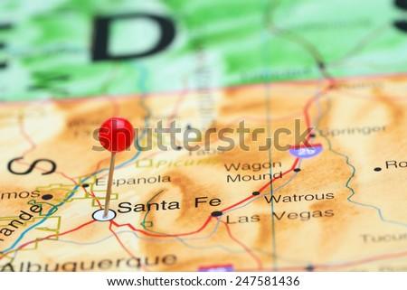 Santa Fe pinned on a map of USA  - stock photo