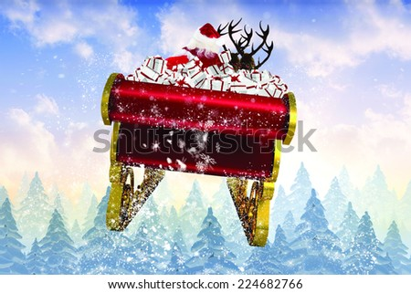 stock photo santa packing his sack with his sleigh and