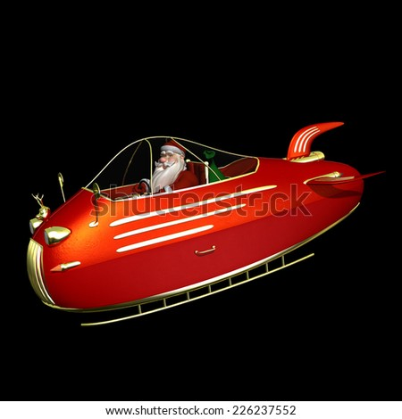 Santa Flying In Jet Powered Sled - Santa is flying in his new jet powered sleigh with a golden reindeer hood ornament. Isolated on a black background. - stock photo