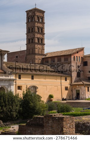 Santa Francesca Romana and its 12th-century Romanesque campanile, previously known as Santa Maria Nova, is a church in Rome, Italy, situated next to the Roman Forum in the rione Campitelli.