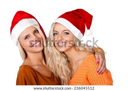 santa friend talking - stock photo