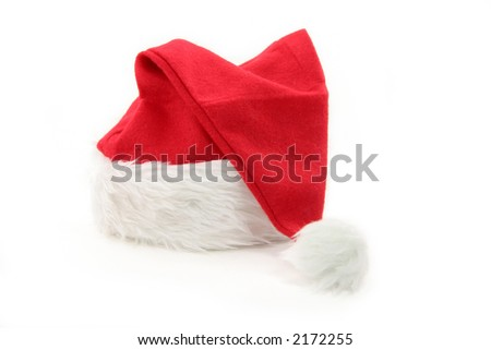 Santa furry red  hat with white background - stock photo