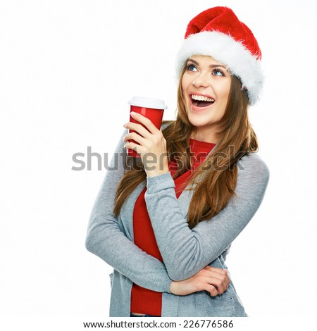 Santa Girl hold coffee cup. Studio portrait of smiling woman isolated on white background. Positive emotion. - stock photo