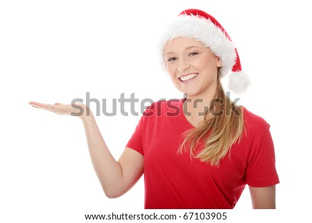 Santa Girl presenting your product, isolated on white background - stock photo