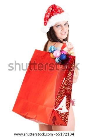 Santa girl with red bag - stock photo