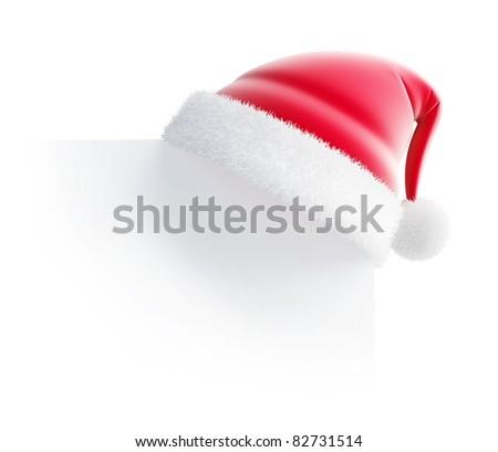 santa hat 3d isolated on white - stock photo