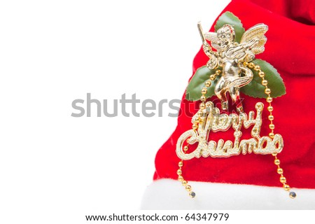 Santa hat isolated in white background - stock photo