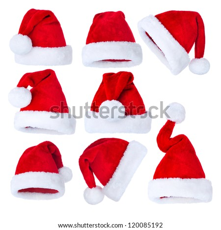 Santa Hat isolated on white Background. Christmas Collage - stock photo