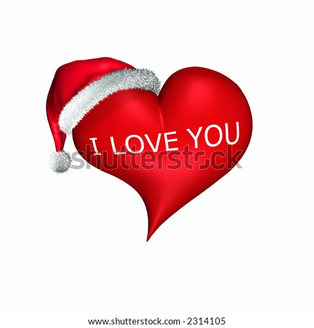 Santa hat on a valentine heart.  The words I LOVE YOU across the front of the heart. Isolated on a white background. - stock photo