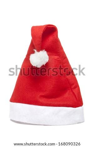 santa hat on a white background in studio - stock photo