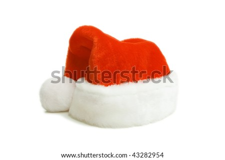 Santa hat on the white isolated background. Foor red cap - stock photo