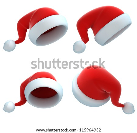 santa hat set - stock photo