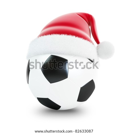 santa hat soccer ball isolated on a white background - stock photo