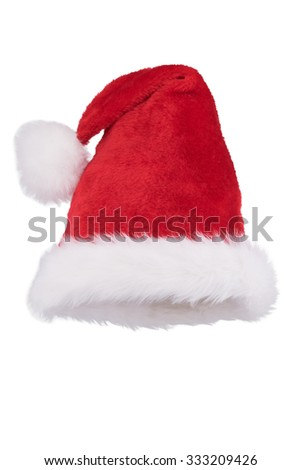Santa hat with folded tip isolated on white background - stock photo