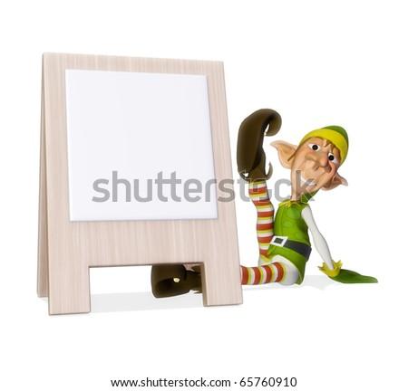santa helper advertboard - stock photo