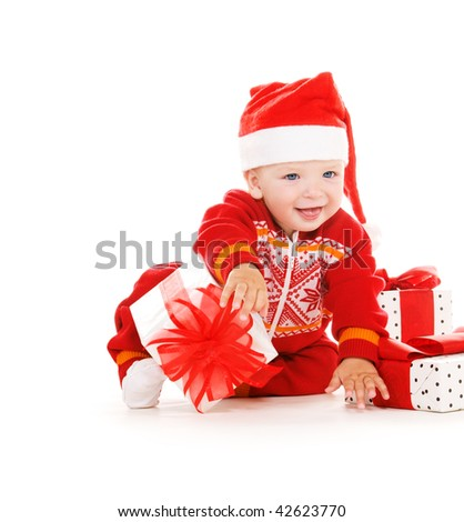 santa helper baby with christmas gifts over white - stock photo