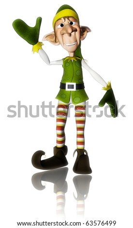 santa helper hello reflection - stock photo
