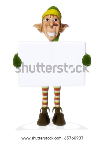 santa helper hold a sign 3 - stock photo