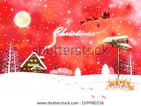 Santa in a sleigh flying across a red sky over a snowy house. - stock photo