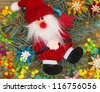 Santa in Christmas arrangement - stock
