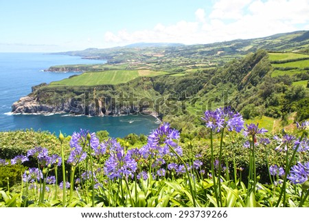 Santa Iria lookout in Sao Miguel island Azores Portugal - stock photo