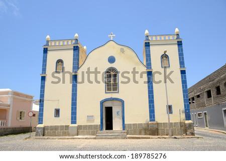 Santa Isabel Church in Sal Rei, Boa Vista, Cabo Verde - stock photo