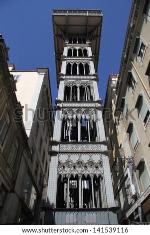 Santa Justa Elevator in Lisbon, Portugal - stock photo