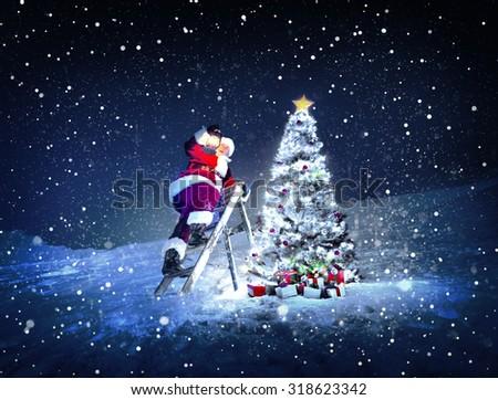Santa Lamp on a Step-Ladder Christmas Tree Concept - stock photo