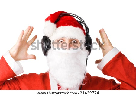 Santa listening a music. Isolated on white. - stock photo