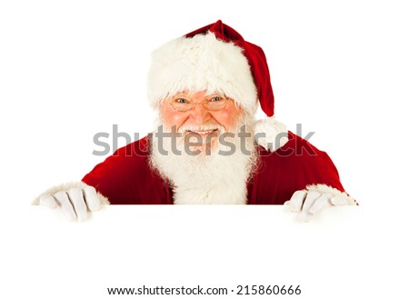 Santa: Looking Out Over White Card - stock photo