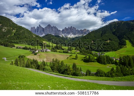 Santa Maddalena and Dolomites mountains, Vall di Funes, South Tyrol, Italy