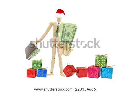 Santa Mannequin big hand out holding Us money one hundred dollars bills briefcase filled with money gifts at feet isolated on white background - stock photo